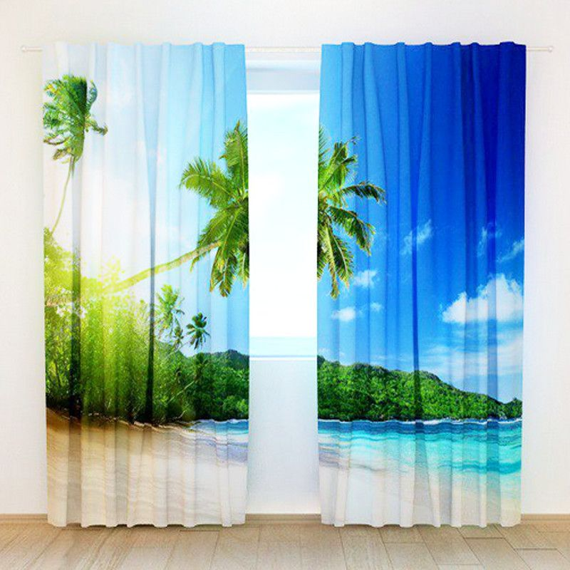 3d Beach View Printing Curtains With Bedding Room Living Room Or