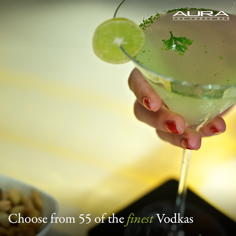 Is vodka your poison? Aura offers a range of the finest vodkas to raise your spirits!