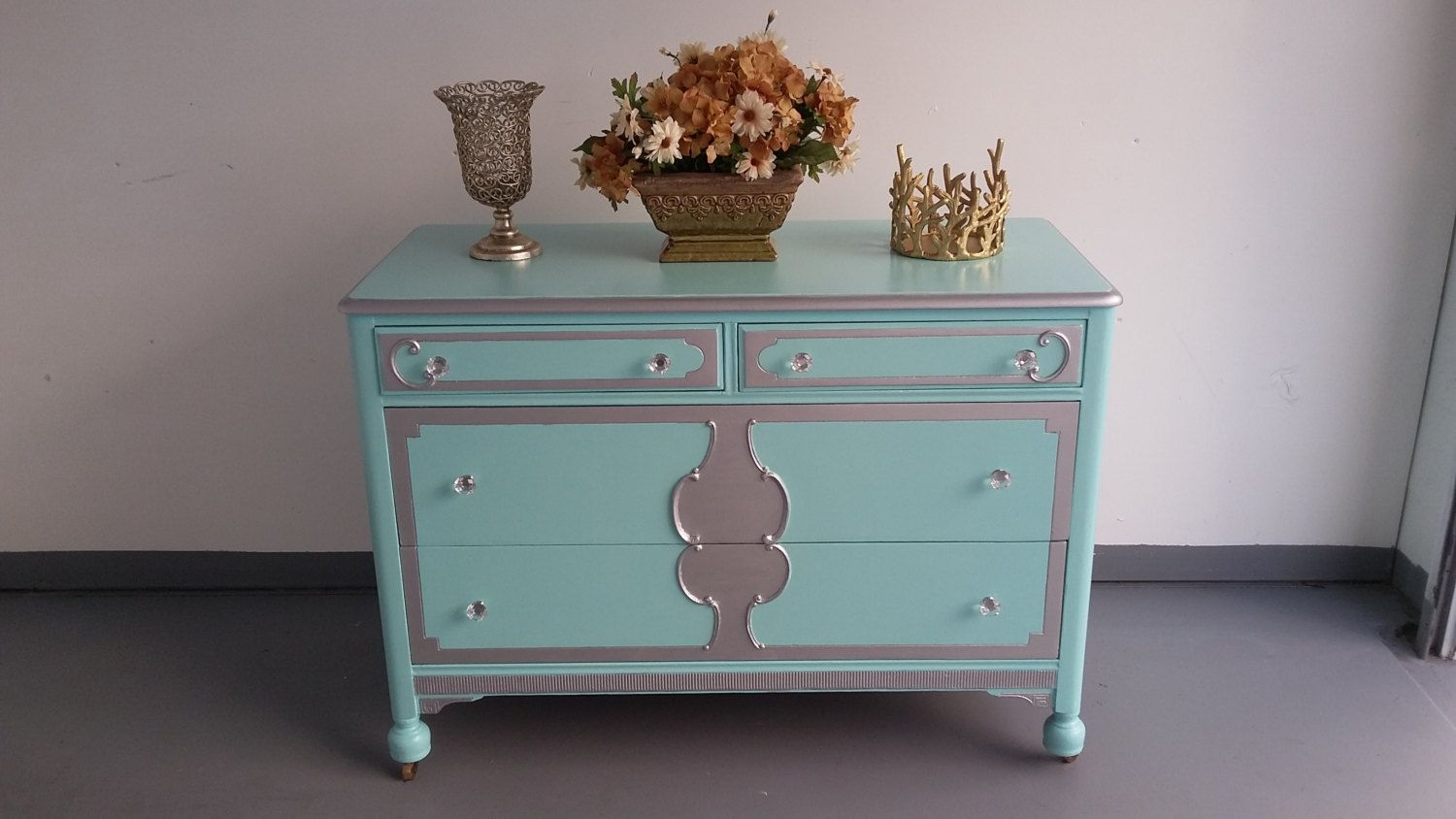 Antique 4 Drawers Chest, Vintage Dresser, Changing Table
