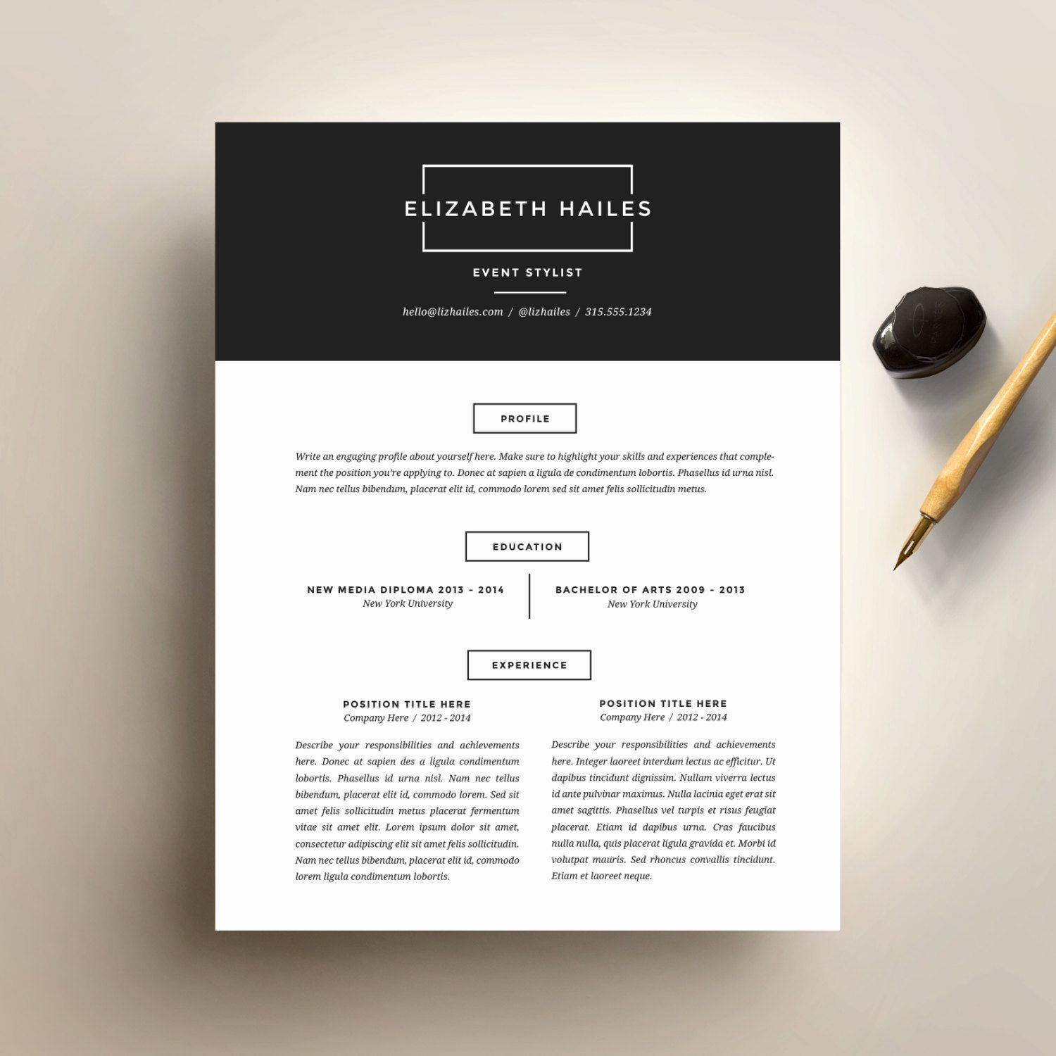 Resume Template And Cover Letter Template For By Suitedbrandlab