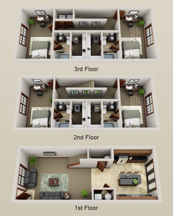 3 story townhouse inspo. Replace one bedroom with media room. Add door to  kitchen  Studio Apartment Floor PlansStudio ApartmentsSims HouseDeck ...