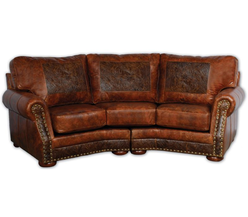 The Cameron Ranch Curved Leather Sofa Is Beautifully Accented With An  Embossed Tooled Leather Pattern And Antique Brass Nails. With A Slight  Western Flair ...
