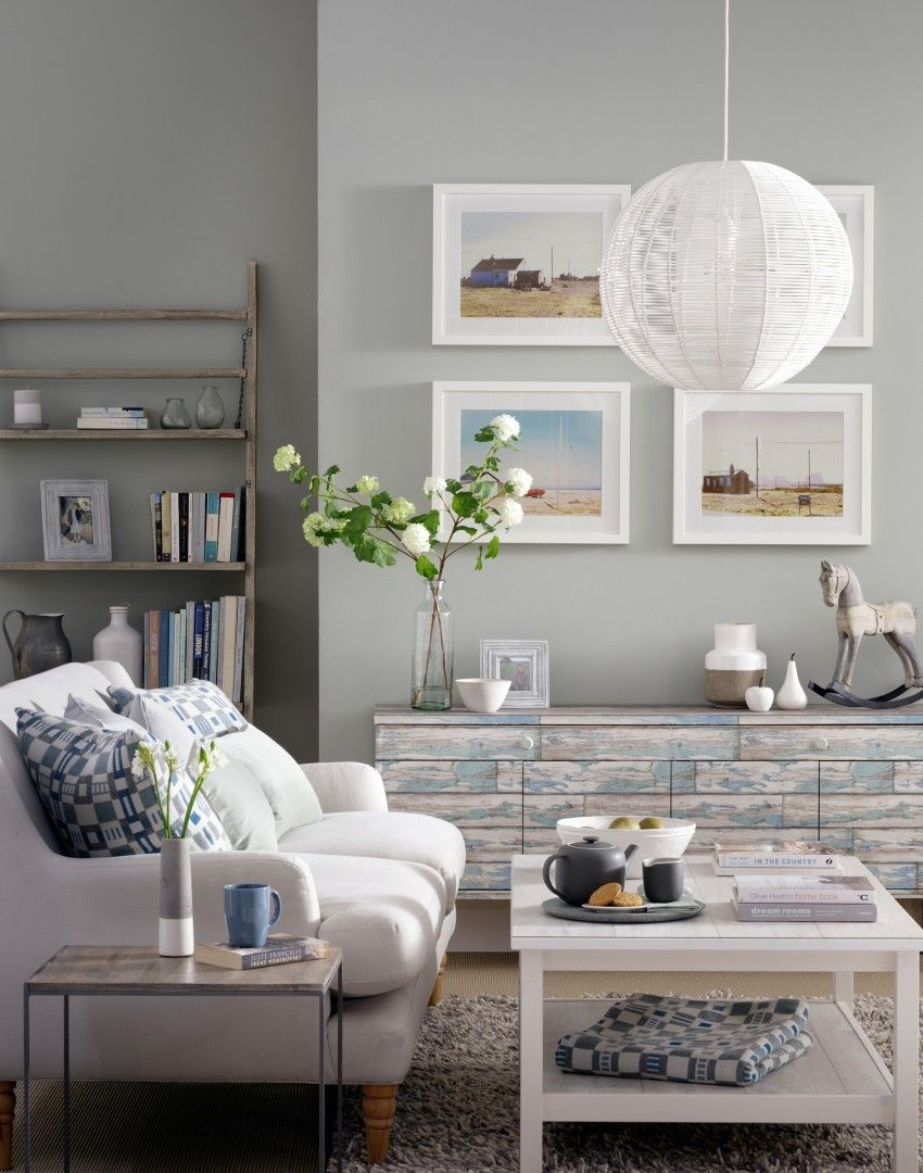 Pale Grey Living Room with Upcycled SideboardThe weathered