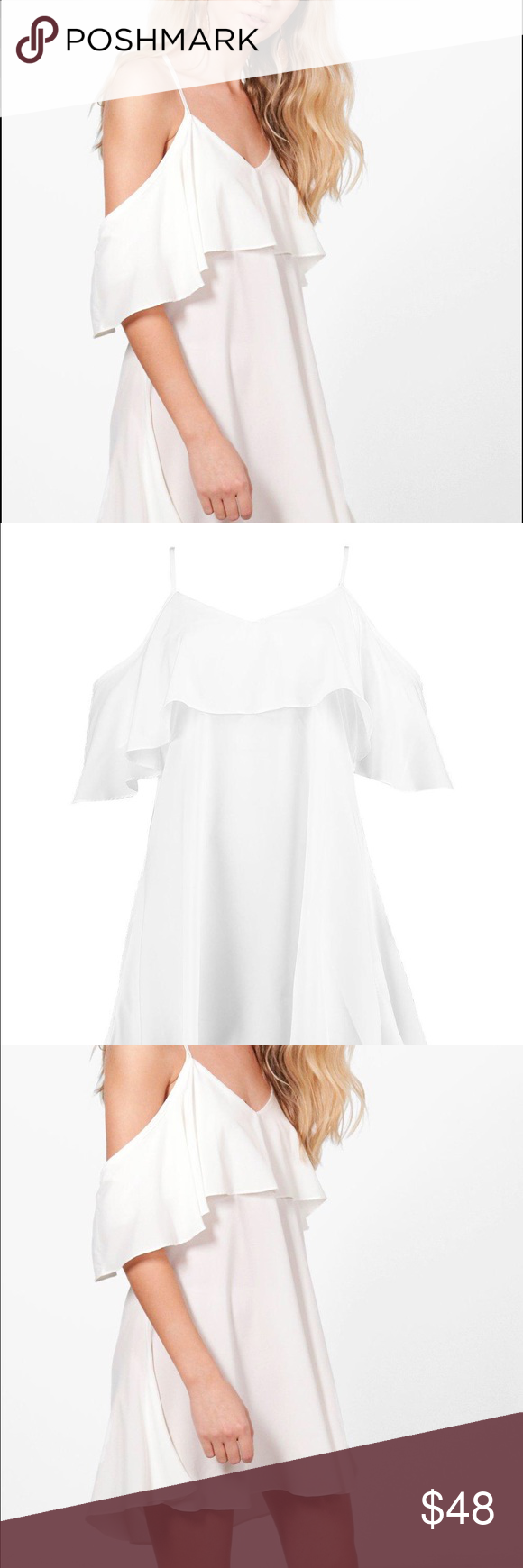 White cold shoulder ruffle mini dress Ruffle cold shoulder mini dress, soft 100% polyester material, model wears size 4 ASOS Dresses Mini