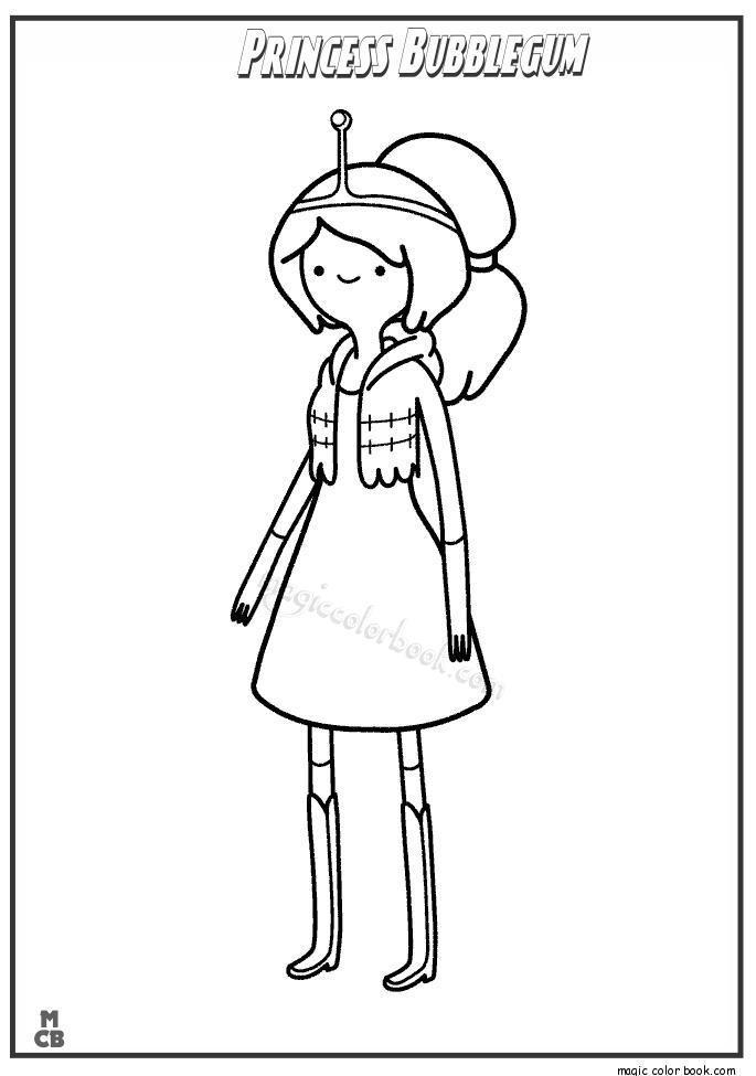 adventure time color pages princess bubblegum 2 - Adventure Time Coloring Pages Finn