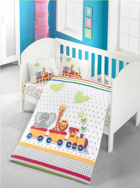 Bettwasche 100x135 Cm Baumwolle Kinder Tiere Im Zug Elefant