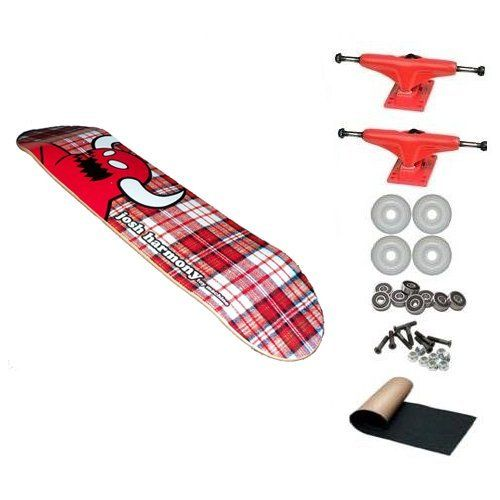 Toy Machine Josh Harmony Red Plaid 8.25 Skateboard Deck Complete by Toy Machine. $61.99. 1 set - Skateboard Hardware & 1 - Black Randel Grip Tape. 2 - Frontage Trucks. 4 - Yellow Jacket Blank Wheels 53mm. Brand New Toy Machine Skateboard Complete 8.25 x 32. 8 - Abec 3 Bearings. ***Please note that the color of the board we are selling is red not blue.