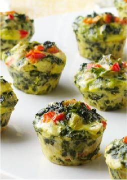 Mini Spinach-Artichoke Frittatas – A favorite pairing—spinach and artichokes—gets whipped together into tasty bite-size frittatas. Make them ahead and reheat before your guests arrive.