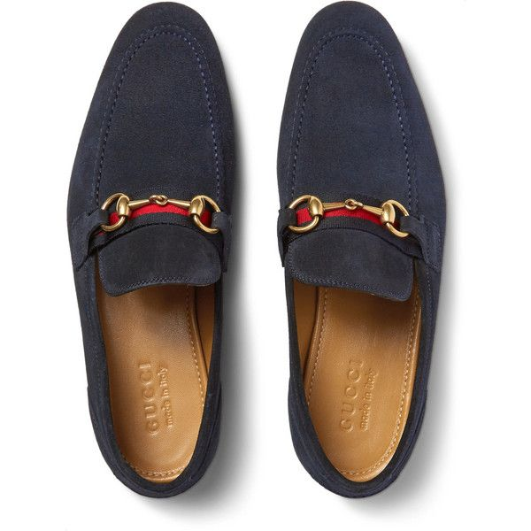 d6c919b3c87 Gucci Horsebit Webbing-Trimmed Suede Loafers (2