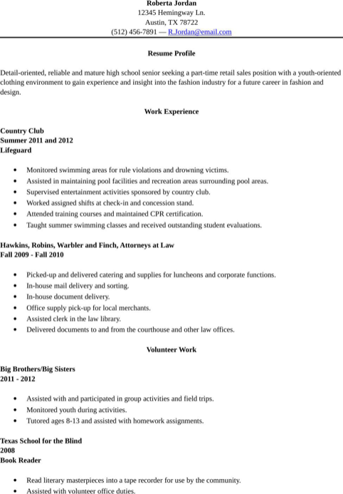 High School Resume Template For Excel Pdf And Word Free Psd