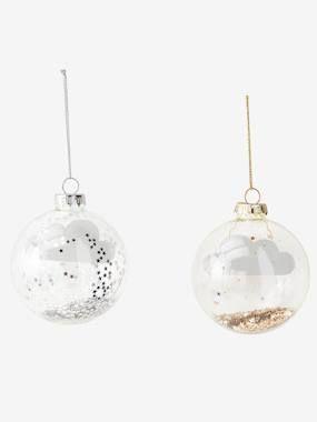 Lot de 2 boules de Noël Nuages blanc clair bicolor/multicolor #bouledenoel