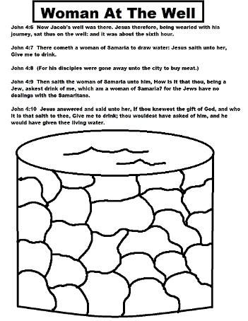 Woman At The Well Coloring Page Bible Crafts For Kids Sunday