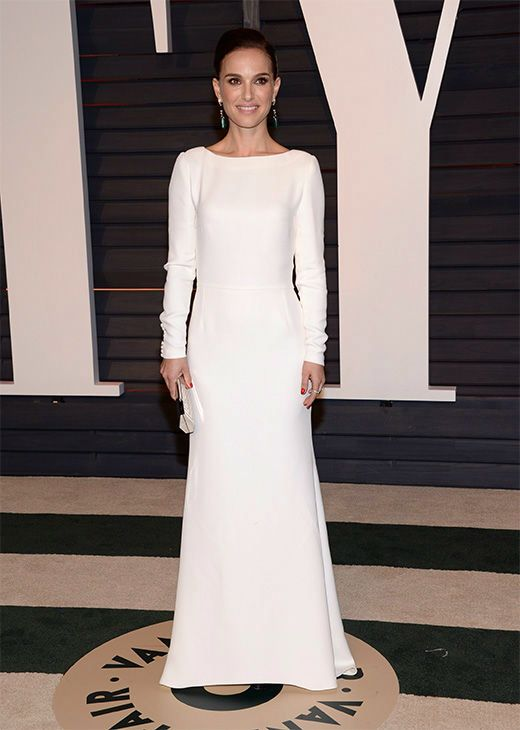 Natalie Portman wearing a Dior gown with Cartier and Eddie Borgo jewelry at the 2015 Vanity Fair Oscar party