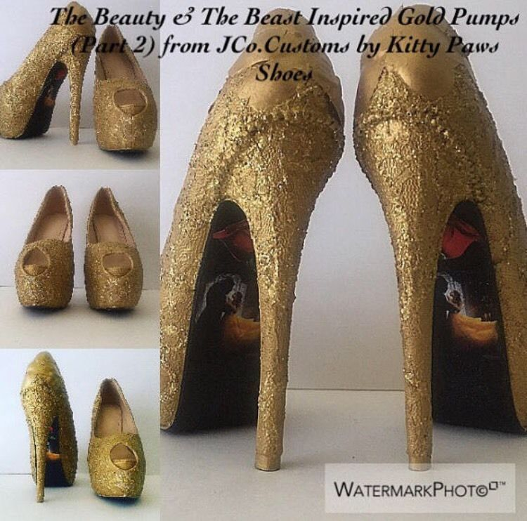 e68566798c53 The Beauty   The Beast Inspired Gold Pumps JCo.Customs by Kitty Paws Shoes  US