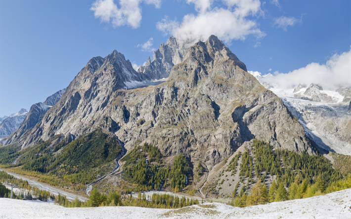 Download wallpapers Mont Blanc, Monte Bianco, White Mountain, 4k, mountains, crystal massif, Alps, France, Italy