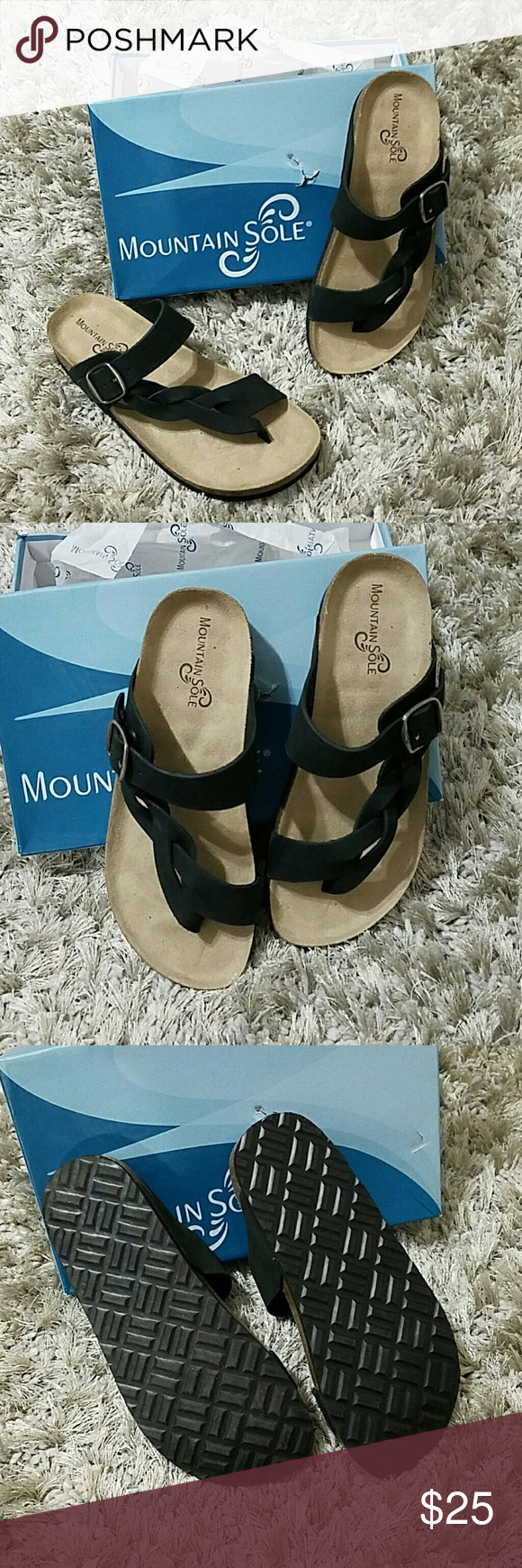 555517a63ff1 Mountain Sole Hollie Braided Sandal Brand new Mountain Sole sandals..  Called the Hollie.. Black nubuck leather.. Size 8 TTS.. 2 sizes available.