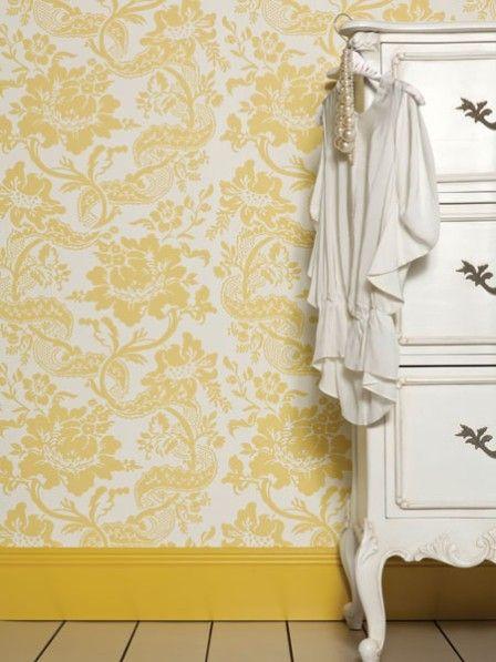 Tapete zartes hellblau beige Muster Stil Renaissance Tapeten ...