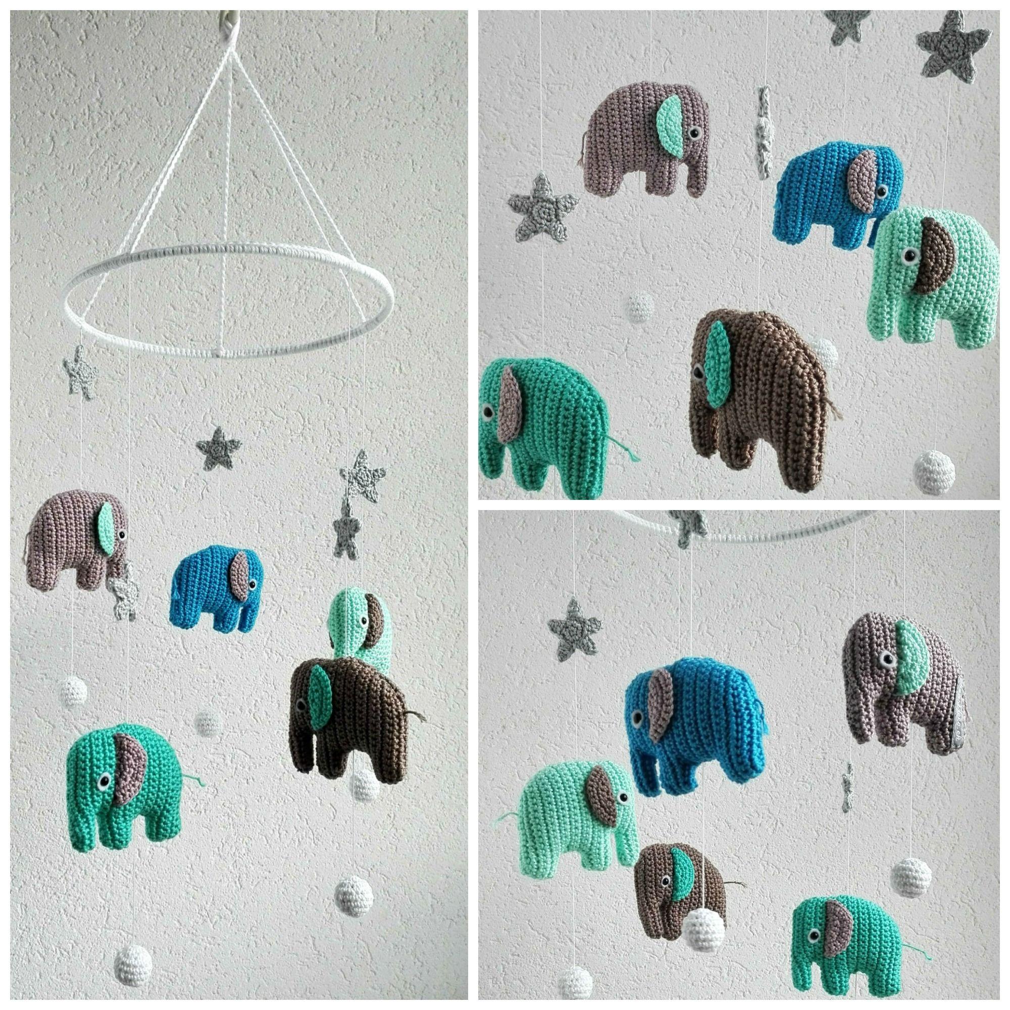 Baby Mobile Gehäkelt Mit Elefanten Und Sternen Basteln Pinterest
