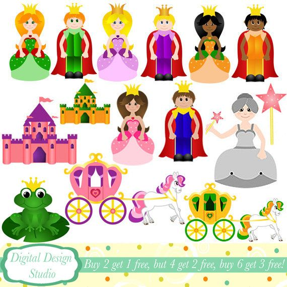 Fairy Tale Princess Clip Art Set 15 Designs Instant Download For Personal And Commercial Use Clip Art Fairy Tales Art Set