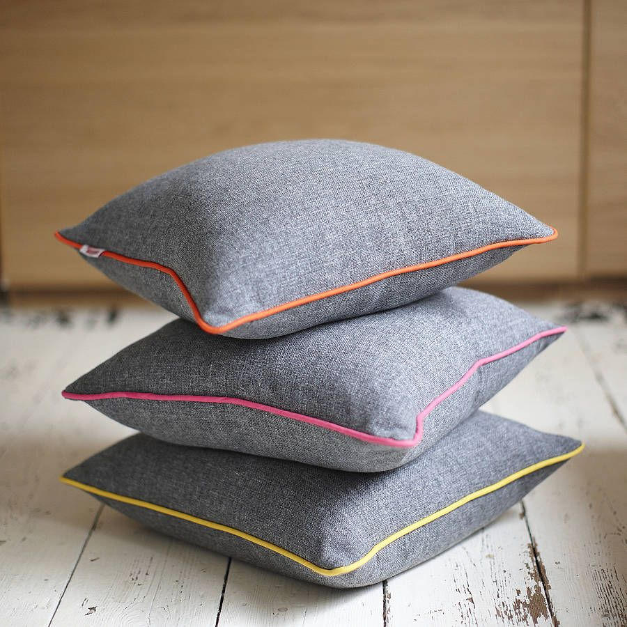 Best Grey Neon Piping Cushion For My Classy Grown Up Sofa 400 x 300