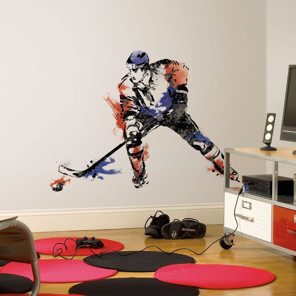 3e1ef778acb Perfect your slap shot with these champion hockey player wall decals. Great  for players and fans of all ages