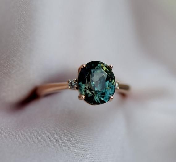 Photo of Green sapphire ring. Engagement Ring. Rose gold engagement ring Bi-color Sapphire ring 3 stone ring by Eidelprecious