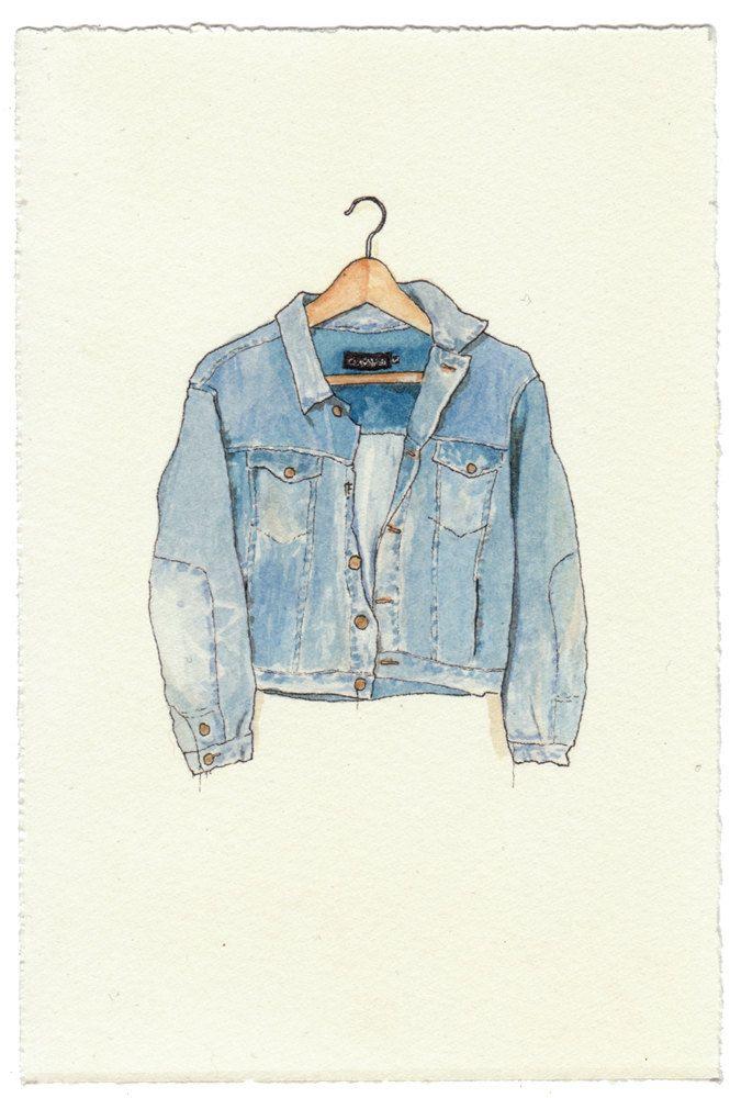 NEW/ORIGINAL Watercolor Illustration - Worn In Blue Grunge ...