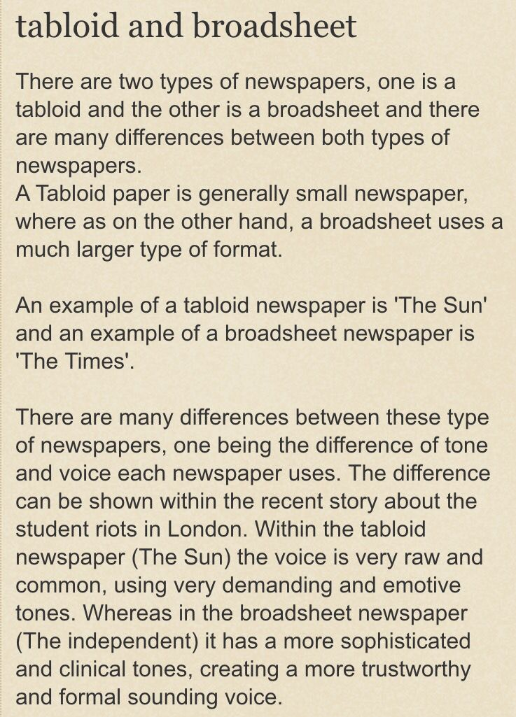 differences between tabloid and broadsheet newspapers essay Essays on broadsheet newspaper divide that exists between broadsheets and tabloid newspapers is a huge difference between the business cultures of.