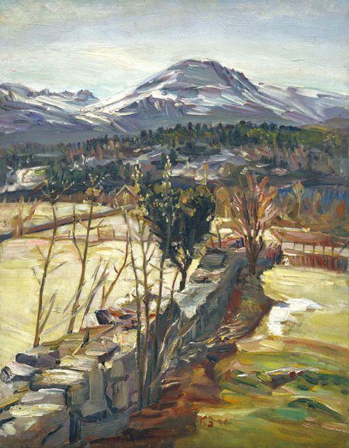 Kurt Schwitters (1887-1948), Parti fra Skodje ved Ålesund / Partial View from Skodje near Ålesund, 1940. oil on wood, 63,8 x 49,5 cm