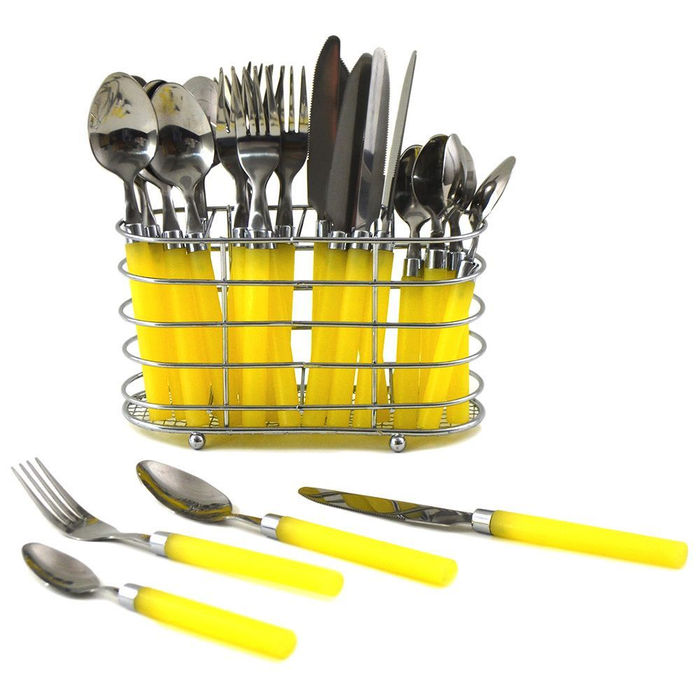 Nature Home Decor Rainbow Elite Collection Yellow PVC 24-piece Flatware Set with Rectangle Caddy