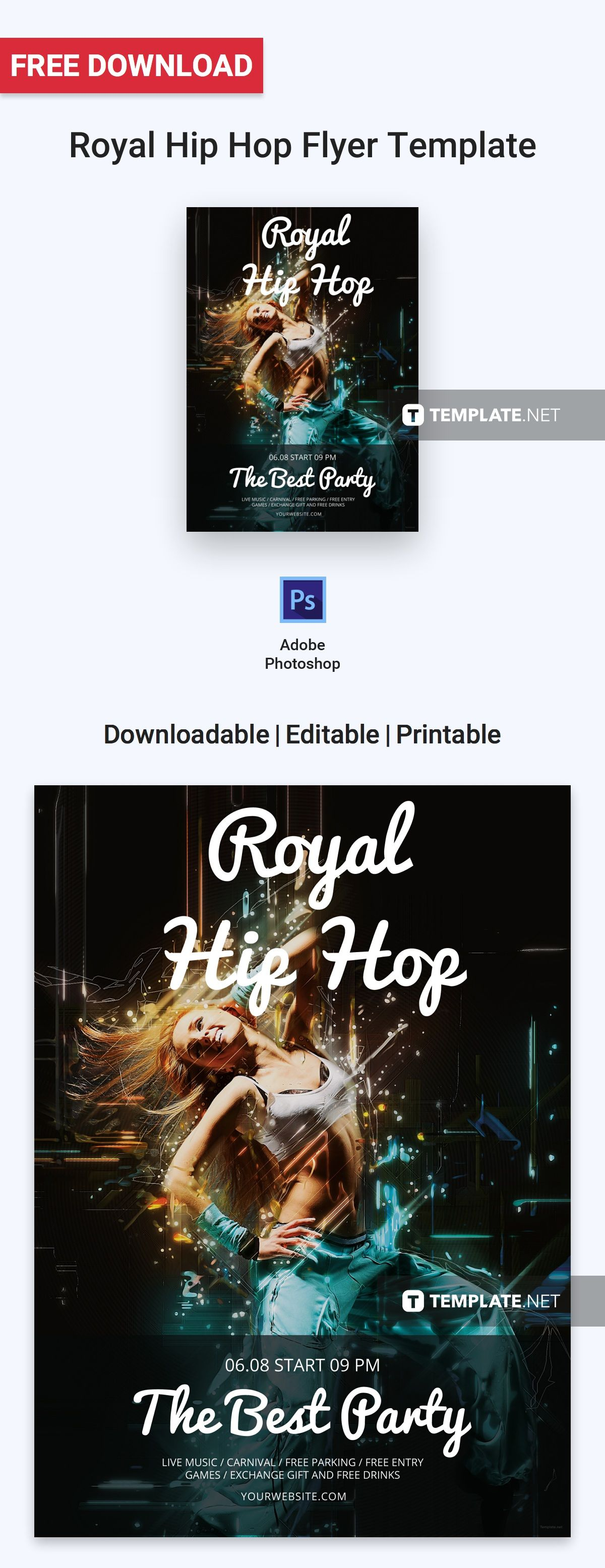 free royal hip hop flyer flyer templates designs 2019