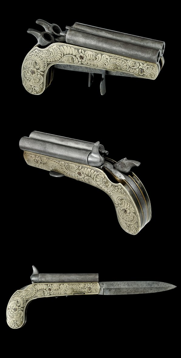 A Very Rare Double Barreled Percussion Pistol With Folding