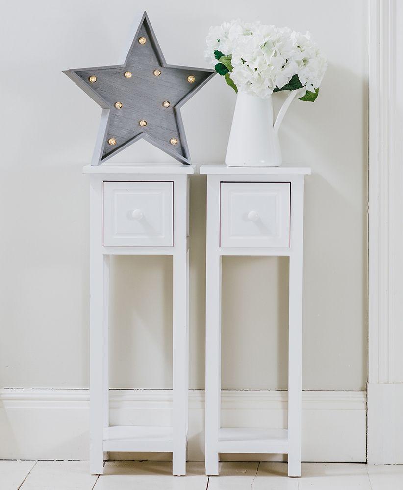 Pair Of Tall Slim Bedside Telephone Tables Narrow Bedroom Hallway Wood White Gre