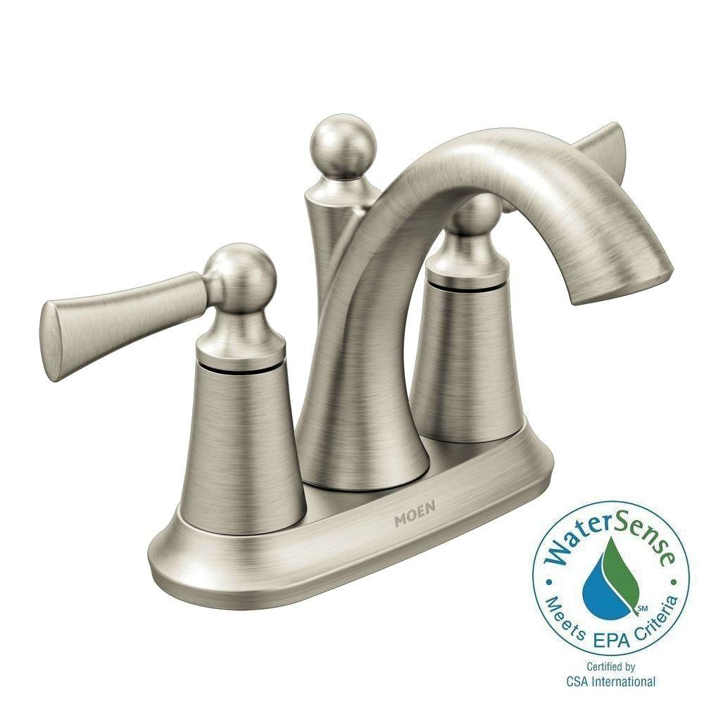 MOEN Wynford 4 in. Centerset 2-Handle High-Arc Bathroom Faucet in ...