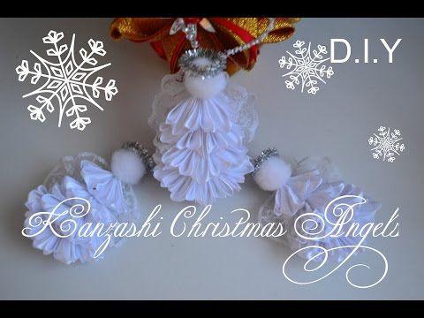 "Kanzashi Christmas Angels/Заколки и игрушка на елку "" Ангелочек""/D.I.Y - YouTube"