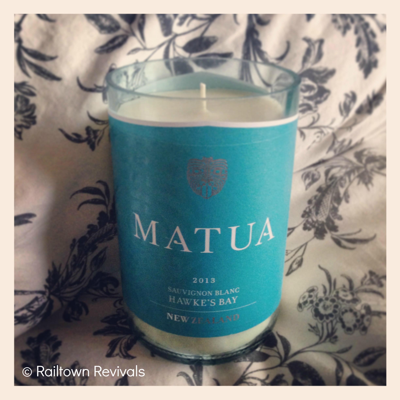 Matua Sauvignon Blanc wine bottle candle diy crafty upcycle