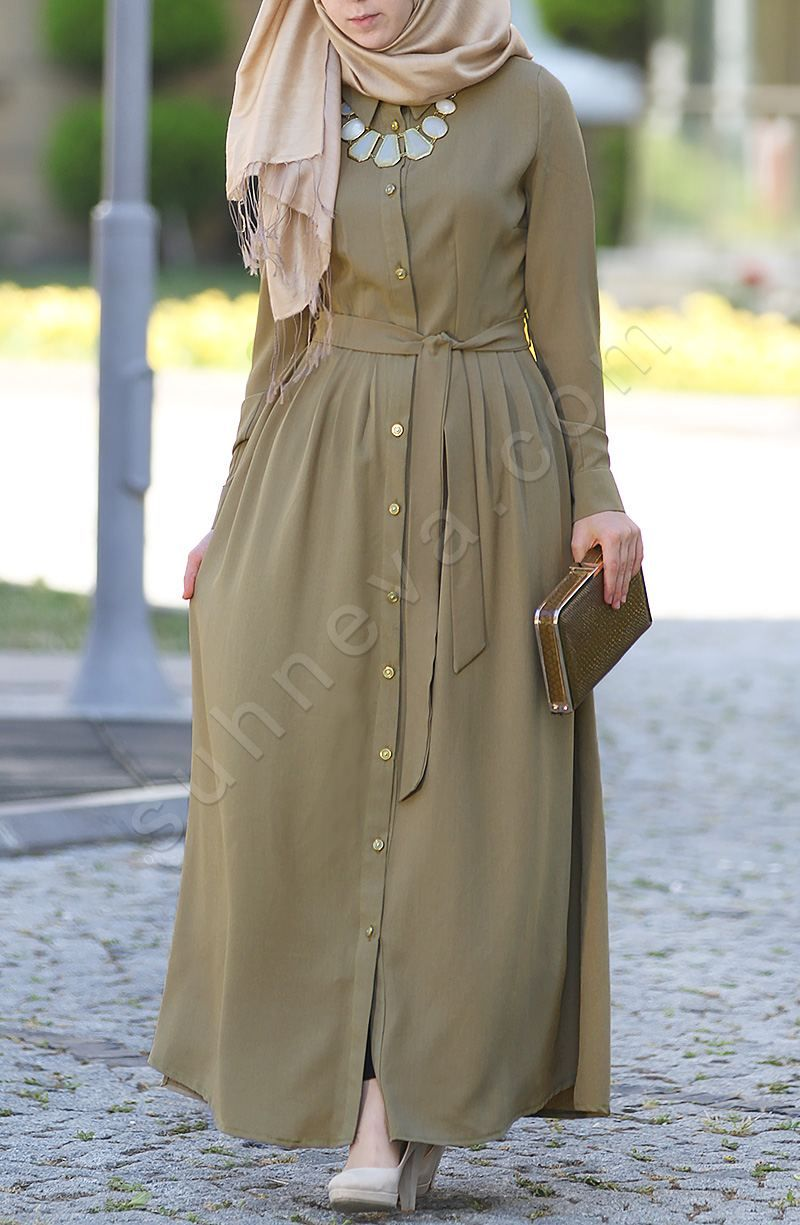 Pileli Cimcime Ince Elbise Yesil فستان بزراير Hijab Dress