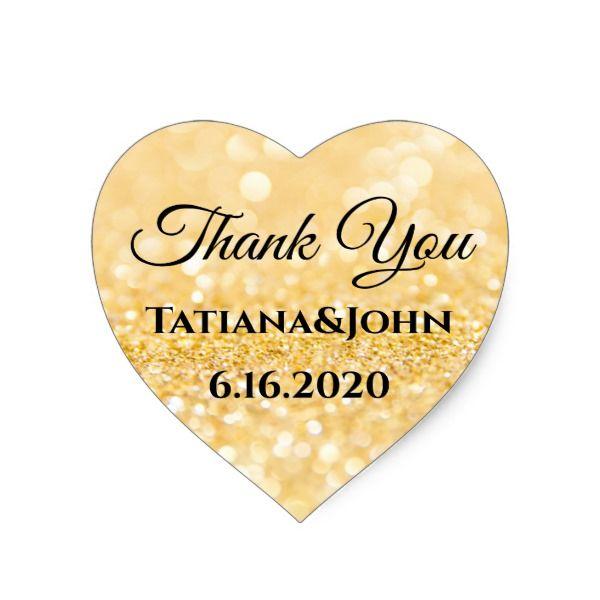 Thank you, custom, gold glitters background heart sticker | Zazzle.com #goldglitterbackground