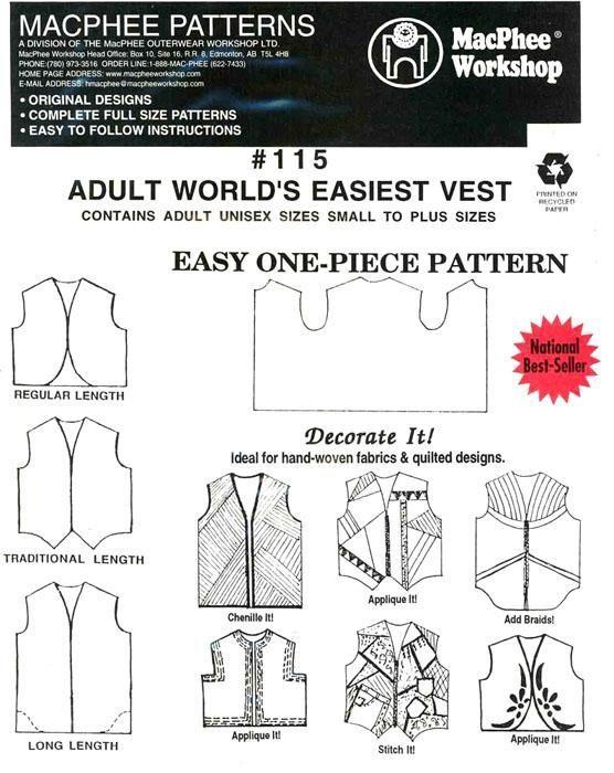 Adult World\u0027s Easiest Vest Pinterest Pdf, Easy and Patterns