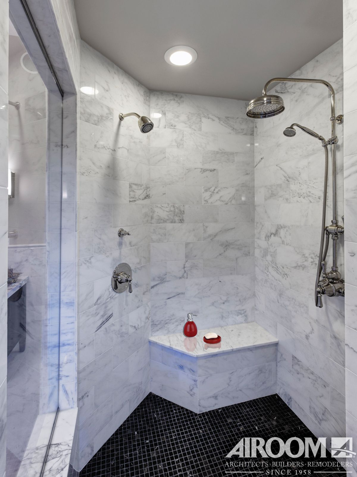 two can share this walk in roman shower with matching marble bench and contrasting mosaic tile. Black Bedroom Furniture Sets. Home Design Ideas