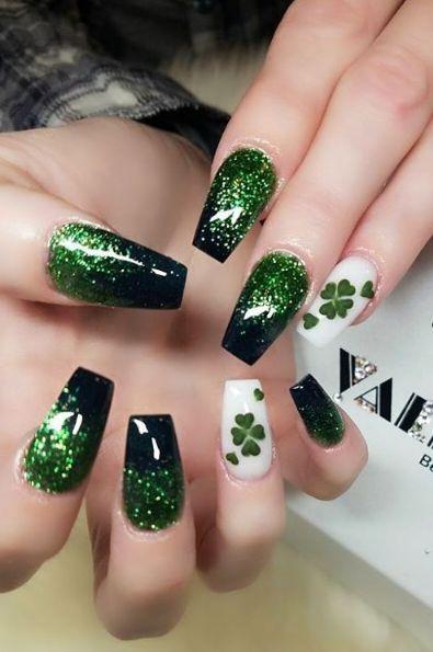 33 St Patrick S Day Nail Art Ideas Green Nail Designs St Patricks Nail Designs Irish Nails