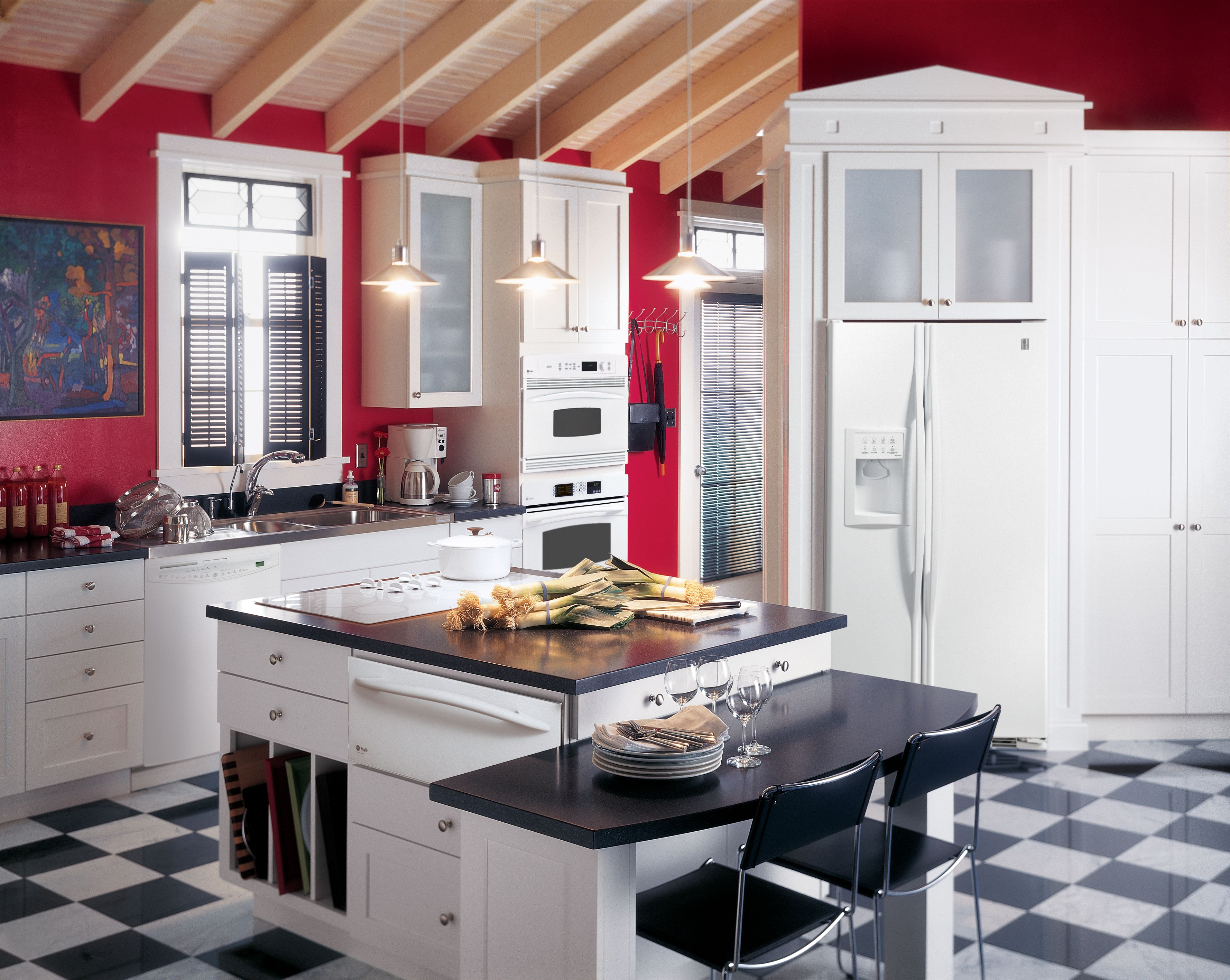 Ge profile kitchen with red walls white cabinets and - Black red and white kitchen designs ...