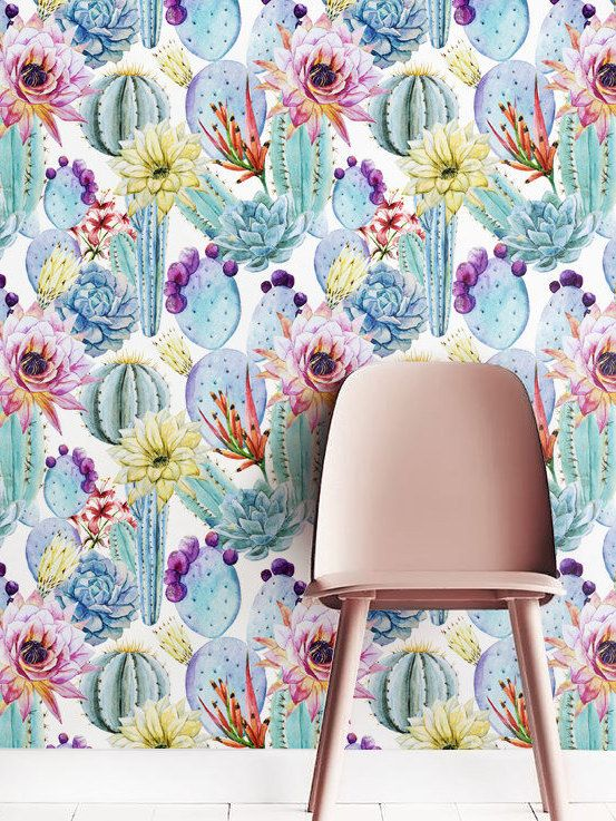 Great Removable Self Adhesive Wallpaper, Watercolor Cactus Wallpaper Floral Wall  Décor, Flower Wallcovering   JW019 | Vinyl, Kaktus Und Tapeten