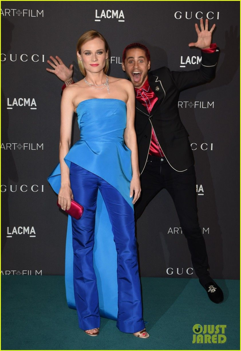 Diane Kruger Gets Photo-Bombed By Jared Leto at LACMA Gala 2015: Photo #3502812. Diane Kruger looks incredibly chic in a blue top and pants ensemble on the blue carpet at the 2015 LACMA Art+Film Gala at LACMA museum on Saturday evening (November…