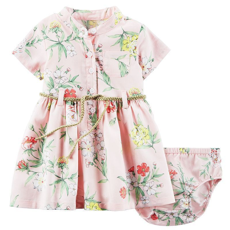 Baby Girl Carter\'s Floral Henley Dress, Size: 12 Months, Pink ...