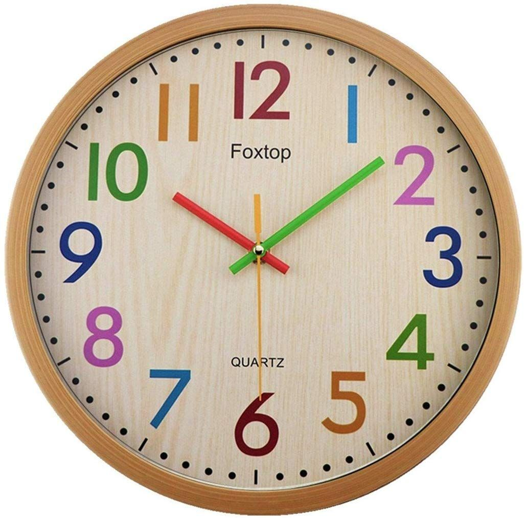 amazonsmile foxtop silent non ticking kids wall clock on wall clocks battery operated id=17540