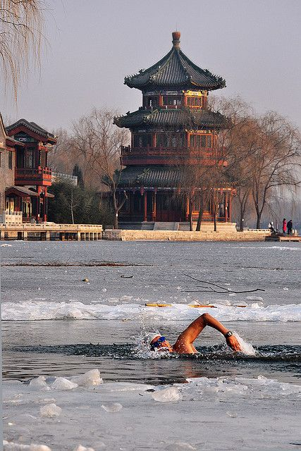 Ice River Swimming, Bejing, China. This guys crazy!