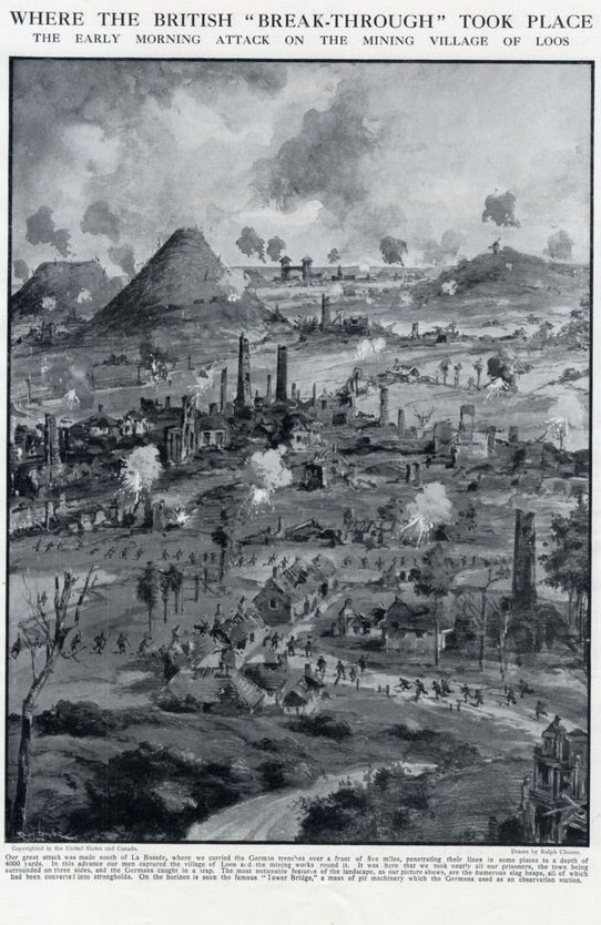 """WWI, 1915, Loos -""""Where the British 'Break-Through' Took Place. The early morning attack on the mining village of Loos."""" The Graphic, via Ebay"""
