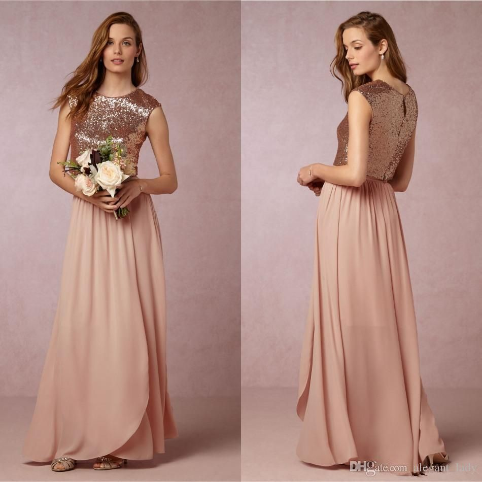b2d5990cdcde Bhldn Blush Rose Gold Sequins Chiffon Two Pieces Country Long Bridesmaid  Dresses 2018 Cap Sleeve Bohemian