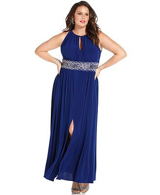 a58ada54e51 R M Richards Plus Size Sleeveless Beaded Gown